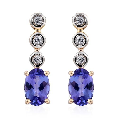 9K Yellow Gold AA Tanzanite (Ovl), Natural Cambodian Zircon Earrings (with Push Back) 0.990 Ct.