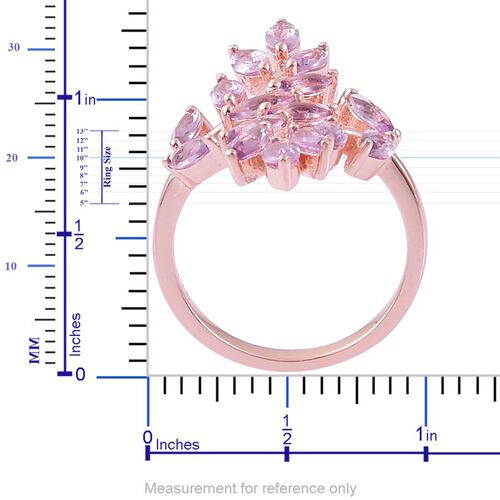 Rose De France Amethyst (Mrq) Leaves Crossover Ring in Rose Gold Overlay Sterling Silver 2.000 Ct.