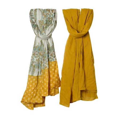 Set of 2 - 100% Cotton Mustard, Green and Multi Colour Floral and Paisley Pattern Scarf (Size 180x100 Cm)