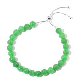 One Time Deal-Burmese Green Jade BOLO Bracelet (Size 6.5 to 9.5) in Rhodium Plated Sterling Silver 90.000 Ct.