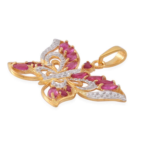 Burmese Ruby (Mrq) Butterfly Pendant in 14K Gold Overlay Sterling Silver 1.250 Ct.