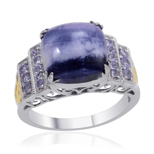 Designer Collection Utah Tiffany Stone (Cush 5.95 Ct), Tanzanite Ring in 14K YG and Platinum Overlay Sterling Silver 6.450 Ct.