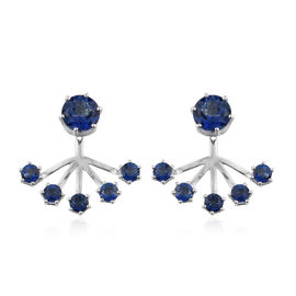 Odyssey Tanzanite Quartz (Rnd) Jacket Earrings (with Push Back) in Rhodium Plating Sterling Silver 5.59 Ct. Silver wt 5.56 Gms.