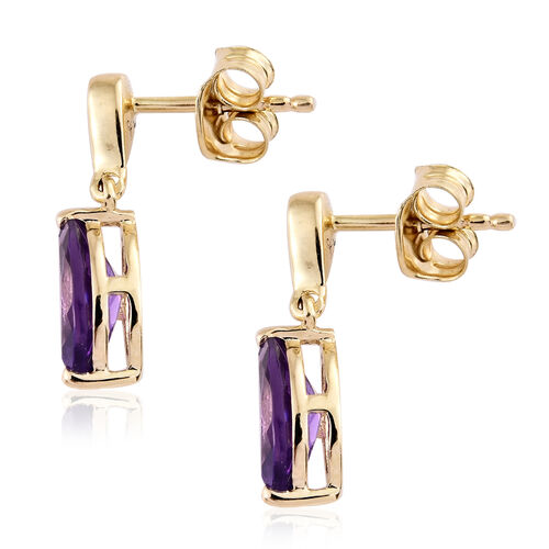 9K Yellow Gold AA Amethyst (Mrq), Diamond Earrings (with Push Back) 1.350 Ct.
