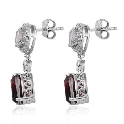 Bi-Colour Tourmaline Quartz (Pear), White Topaz Earrings (with Push Back) in Platinum Overlay Sterling Silver 6.000 Ct.