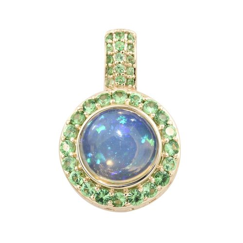 Super Auction- Collectors Editions 9K Yellow Gold AA Rare Size Ethiopian Welo Opal (Rnd 10mm) and AA Tsavorite Garnet Pendant 3.250 Ct.