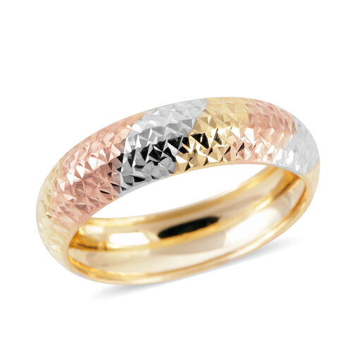 Royal Bali Collection 9K Yellow, White, Rose Gold Band Ring