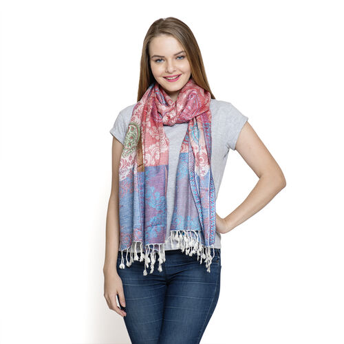 Blue, White, Pink and Multi Colour Scarf with Fringes at the Bottom (Size 180x70 Cm)