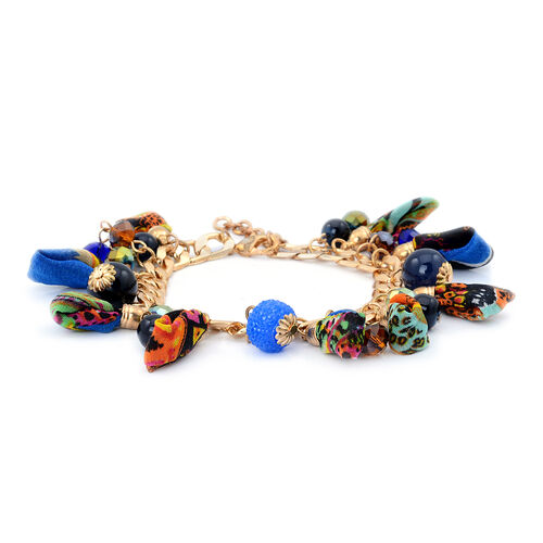 Multi Colour Glass Bracelet in Gold Tone with Resin (Size 7.5 with Extender)