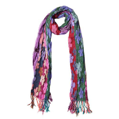 Italian Designer Inspired-Pink, Green and Multi Colour Floral Pattern Reversible Scarf with Tassels (Size 170X30 Cm)