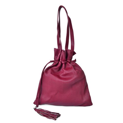 Burgundy Colour Pleated Embossed Bag with Tassel Charm (Size 42X35 Cm)