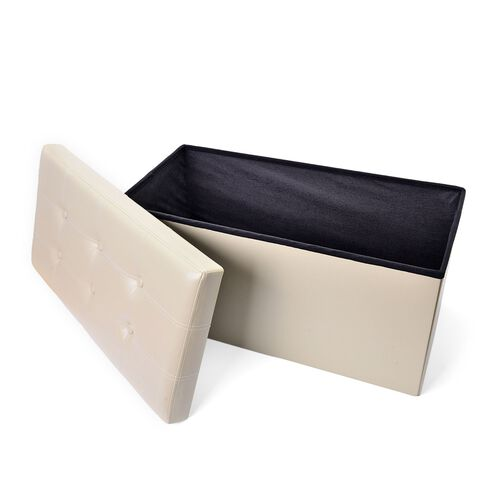 New faux PU Leather Beige Colour Foldable Large Storage Box