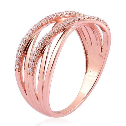 ELANZA AAA Simulated White Diamond Criss Cross Ring in Rose Gold Overlay Sterling Silver