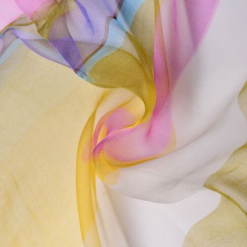 100% Mulberry Silk Green, Yellow, Blue and Multi Colour Water Pattern Scarf (Size 170x50 Cm)