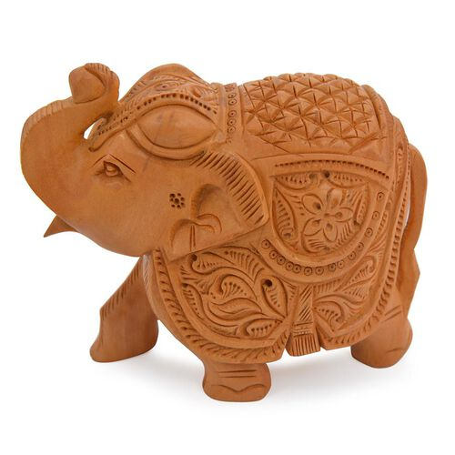 (Option 1) Home Decor - Handmade Wooden Carved Elephant