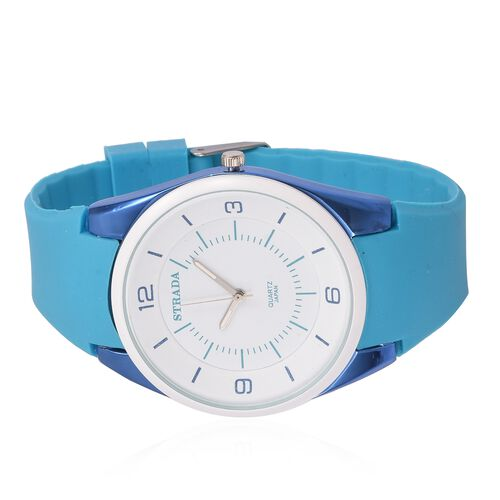 STRADA Japanese Movement White Dial Water Resistant Watch in Neon Blue Tone with Blue Colour Silicone Strap