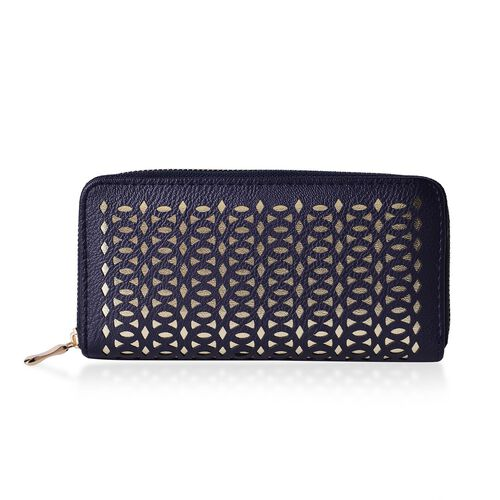 Set of 2 - Laser Cut Pattern Navy and Golden Colour and Checks Pattern Black and White Colour Wallet (Size 19.5x9.5x3 Cm)
