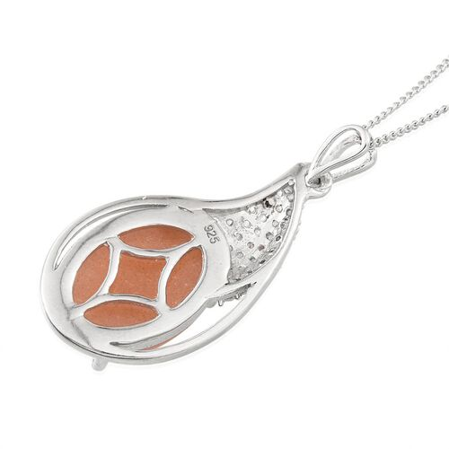 Morogoro Peach Sunstone (Ovl 6.50 Ct), Natural Cambodian White Zircon Pendant With Chain in Platinum Overlay Sterling Silver 7.000 Ct.