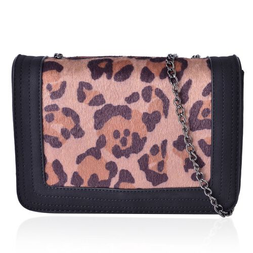 Black Colour with Leopard Pattern Faux Fur Crossbody Bag with Chain Strap (Size 21x15x6.5 Cm)