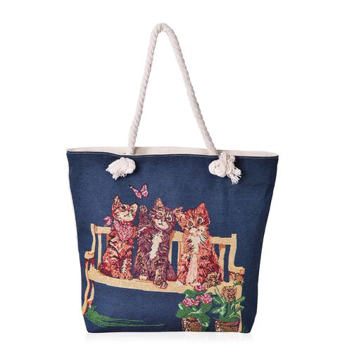 Designer Inspired-Navy with Multi Colour Cat Pattern Tote Bag (Size 44x39x33x9.5 Cm)