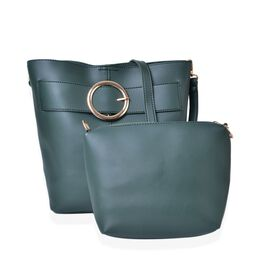 Set of 2 - Dark Green Colour Buckle Design Handbag (Size 33X23X13 Cm) and Small Handbag (Size 24X22X18X6 Cm) with Ajdustable and Removable Shoulder Strap