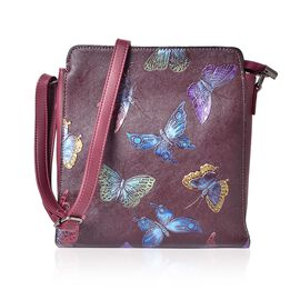 Butterfly Embossed Hand Painting Shoulder Bag with Adjustable Shoulder Strap (Size 24X11.5X8 Cm)