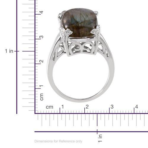 Labradorite (14.00 Ct) Platinum Overlay Sterling Silver Ring  14.000  Ct.