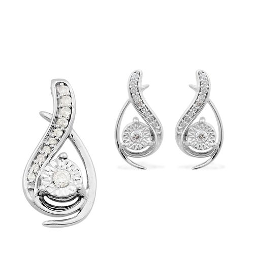 0.25 Carat Diamond Pendant and Earrings Set in 9K White Gold SGL Certified (I3/G-H)