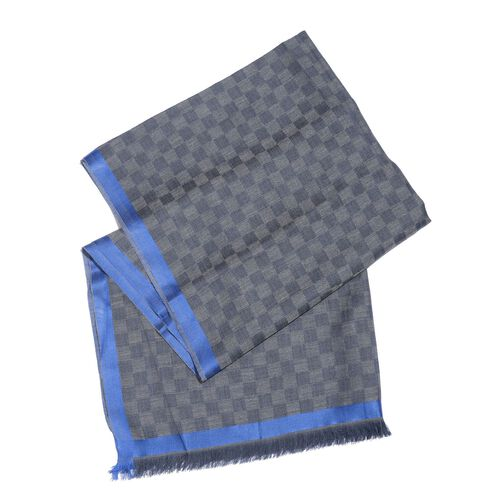 92% Merino Wool and 8% Silk Dark Grey and Blue Colour Checks Pattern Scarf with Fringes (Size 180X70 Cm)