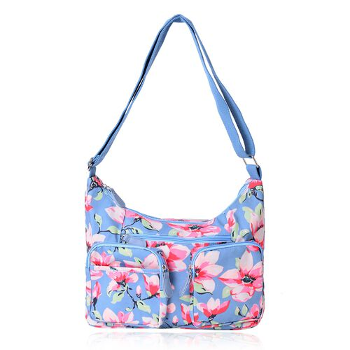 Sky Blue, Pink and Multi Colour Flower Pattern Crossbody Bag with 2 Front Pockets (Size 33x22x11)