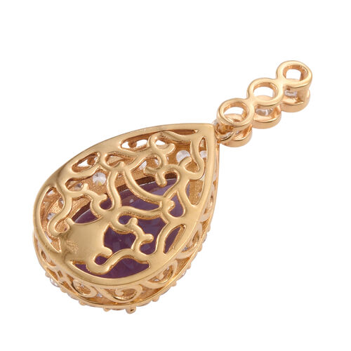 One Time Deal- Zambian Amethyst (Pear 12.65 Ct), Natural Cambodian Zircon Pendant in 14K Gold Overlay Sterling Silver 14.750 Ct.
