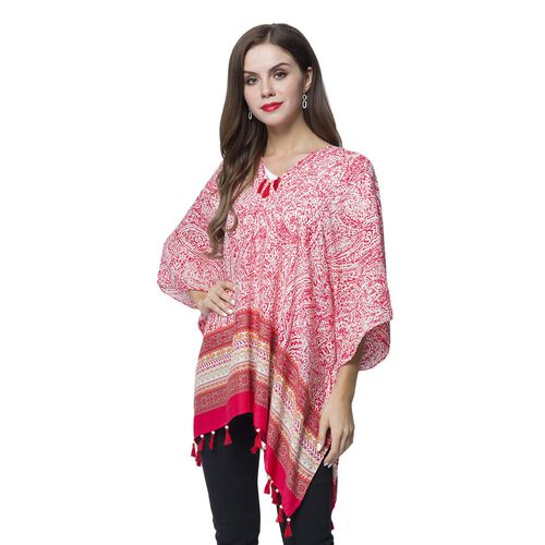 Fuchsia, White and Multi Colour Bandana Pattern Poncho with Wooden Beads Adorned Tassels (Size 130X95 Cm)