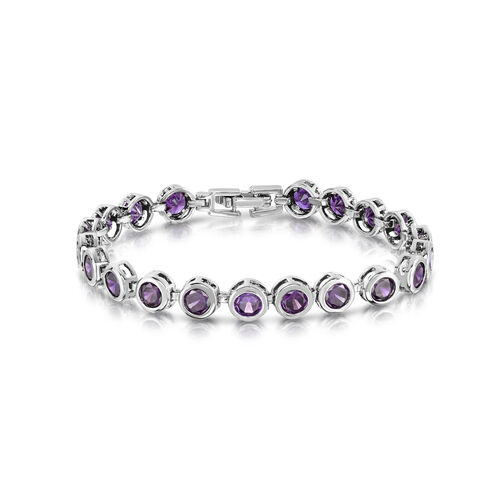 Designer Inspired AAA Simulated Amethyst (Rnd) Bracelet (Size7) in Silver Bond
