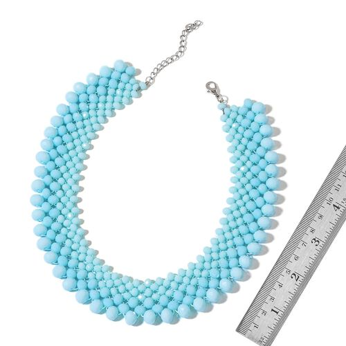 Designer Inspired - Blue Seed Beads Choker Necklace (Size 22) in Silver Tone