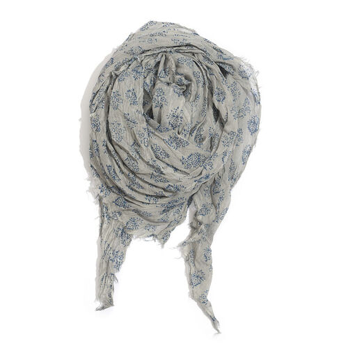 100% Cotton Navy Blue Colour Flowers Printed Grey Colour Scarf (Size 180x100 Cm)