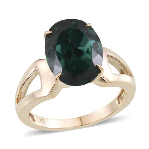 9K Y Gold Ocean Blue Apatite (Ovl) Solitaire Ring 5.750 Ct.