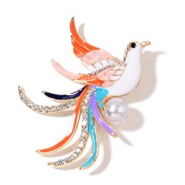 Simulated White Pearl, White and Black Austrian Crystal Multi Colour Enameled Phoenix Bird Brooch in Yellow Gold Tone