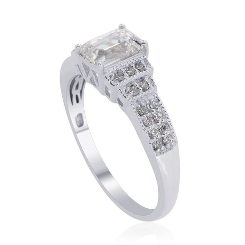 J Francis - Platinum Overlay Sterling Silver (Oct) Ring Made with SWAROVSKI ZIRCONIA 1.398 Ct.