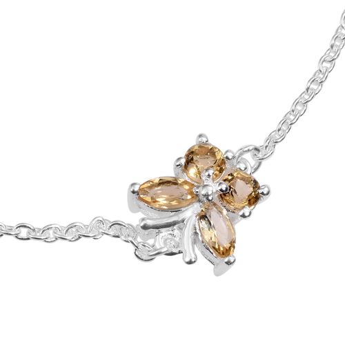 Citrine (Mrq) Adjustable Butterfly Bracelet (Size 7.5 with 1 inch Extender) in Sterling Silver 0.500 Ct.
