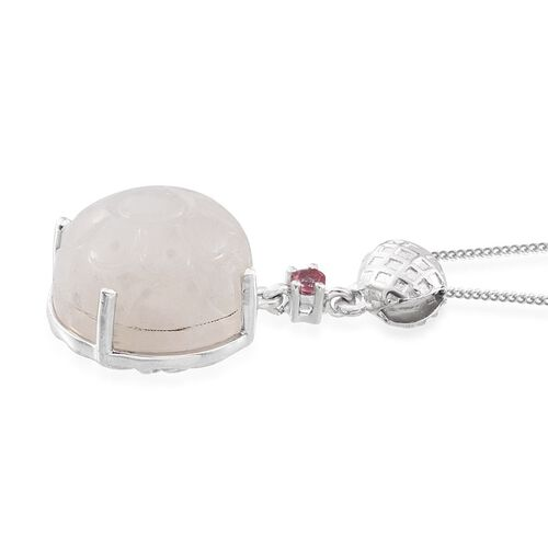 Stefy Rainbow Moonstone (Rnd 16.65 Ct), Mahenge Pink Spinel, Pink Sapphire Pendant With Chain in Platinum Overlay Sterling Silver 16.750 Ct.