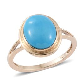 9K Yellow Gold 3.25 Carat Arizona Sleeping Beauty Turquoise Oval Solitaire Ring