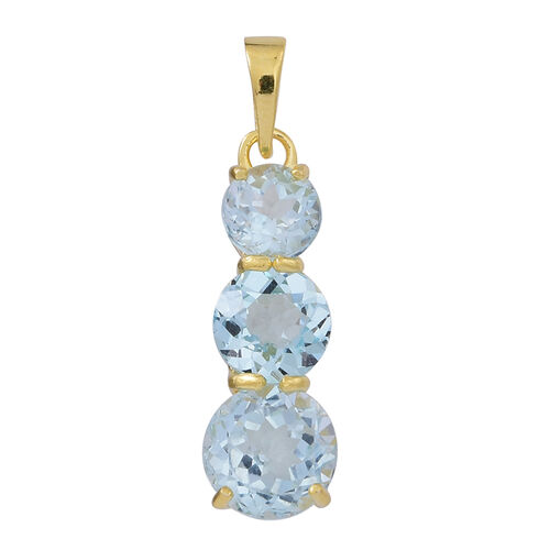 Sky Blue Topaz (Rnd 2.50 Ct) 3 Stone Pendant in 14K Gold Overlay Sterling Silver 5.000 Ct.