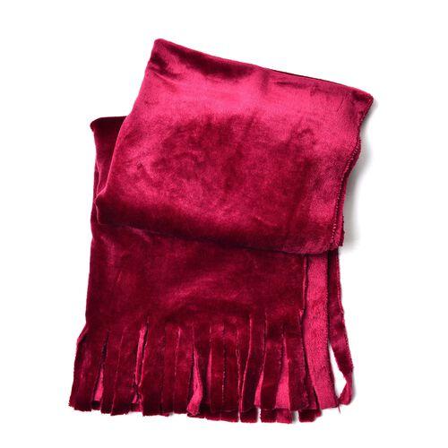Designer Inspired-Wine Red Colour Velvet Reversible Wrap with Fringes (Size 180X58 Cm)