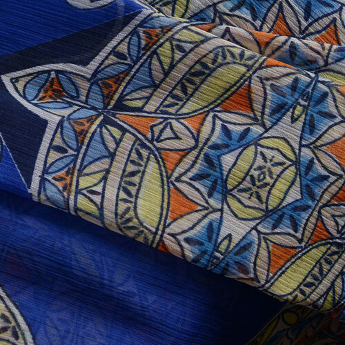Yellow, Orange and Multi Colour Ornamental Pattern Blue Colour V-Neck Kaftan (Free Size)