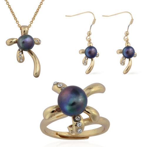 Fresh Water Peacock Pearl and White Austrian Crystal Ring, Hook Earrings and Pendant With Chain in Yellow Gold Plated Stainless Steel