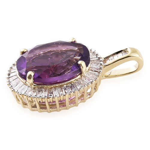 9K Yellow Gold AAA Zambian Amethyst (Ovl 3.15 Ct), Diamond Pendant 3.500 Ct.