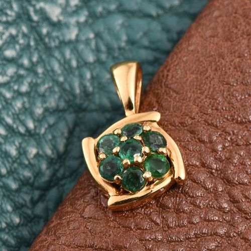 Brazilian Emerald (Rnd) 7 Stone Floral Pendant in 14K Gold Overlay Sterling Silver