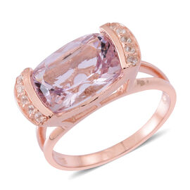 Rose De France Amethyst (Cush 6.00 Ct), Natural White Cambodian Zircon Ring in Rose Gold Overlay Sterling Silver 6.250 Ct.