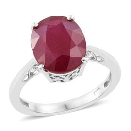 African Ruby 6 Carat Oval Silver Solitaire Ring in Platinum Overlay