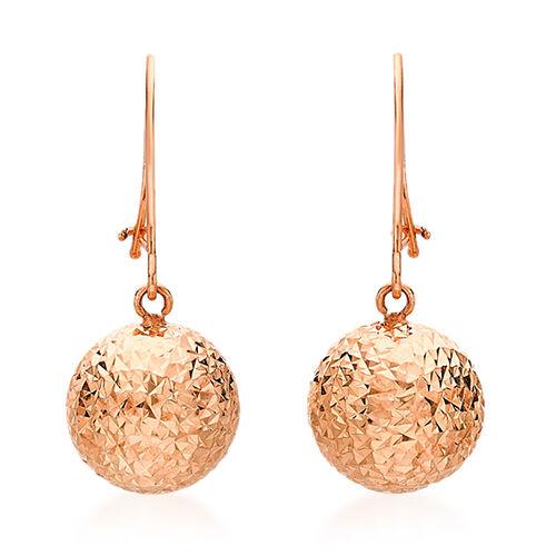 JCK Vegas Collection 9K Rose Gold Diamond Cut Ball Drop Hook Earrings
